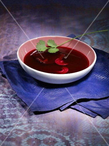 Beetroot soup with fresh coriander
