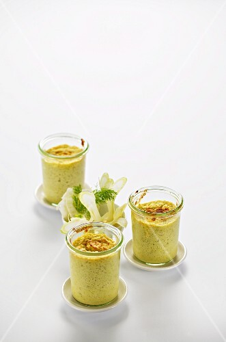 Fennel soufflé in three jars