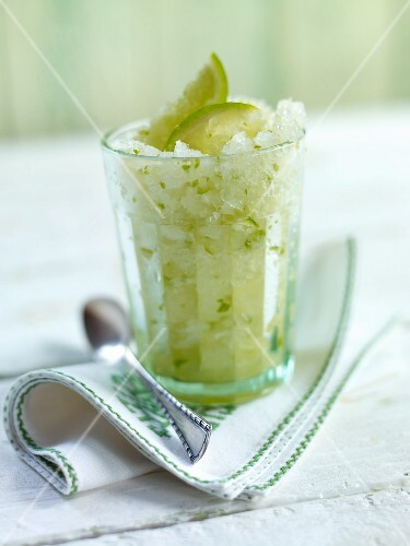 Lime granita in a glass