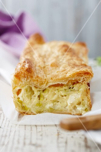 Puff pastry slice with leek filling