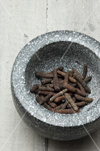 Long pepper in a mortar