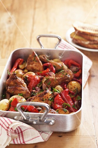 Roast Chicken - Potatoes, Red Peppers, Garlic, Spanish Onion, Parsley