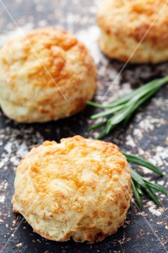 Savoury scones with cheddar on a baking tray