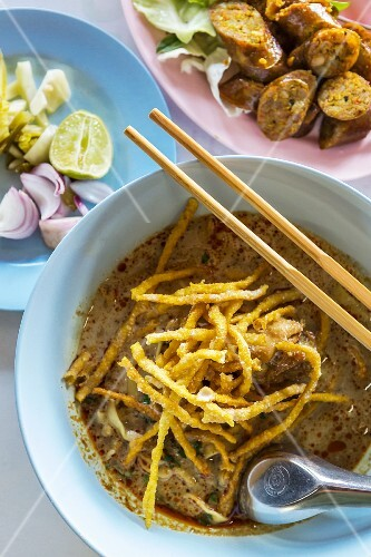 The northern dish of kao soi, curried noodle soup, and sai oua sausage, Chiang Mai, Thailand