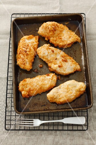 Chicken escalopes on a baking tray