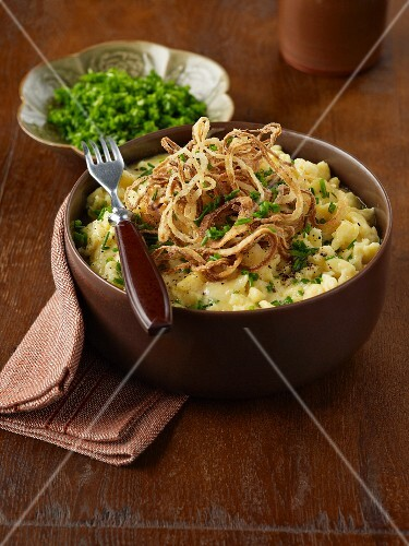 Cheese spaetzle (home-made noodles) with fried onions