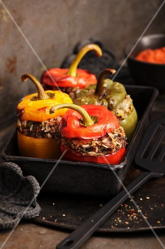Peppers stuffed with minced meat and rice