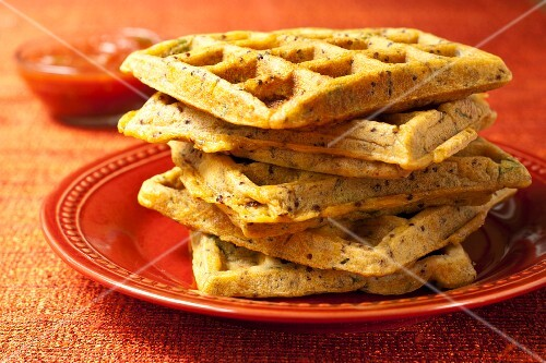 A Stack of Cheesy Chorizo Waffles
