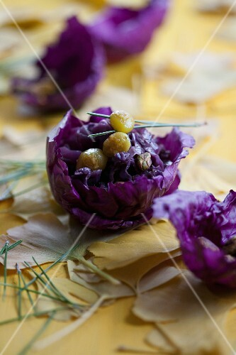 Red cabbage with pistachios and gingko nuts
