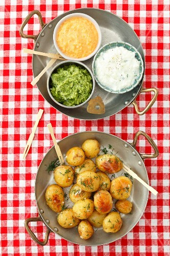 Baked potatoes with dips