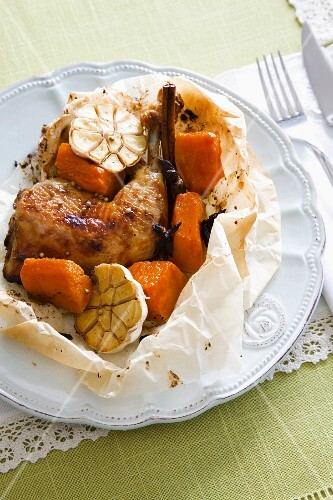 Chicken with garlic and sweet potatoes