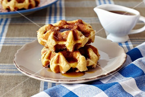 Waffles with maple syrup