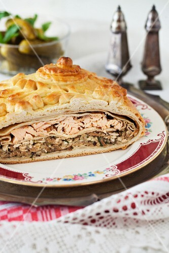 Kulebyaka; Authentic Russian Pie with Salmon, Rice, Mushrooms, Onions and Dill