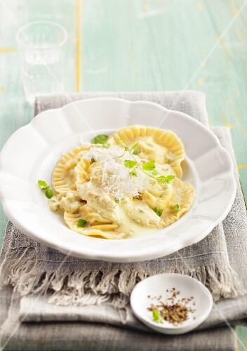Ravioli with ricotta and parmesan