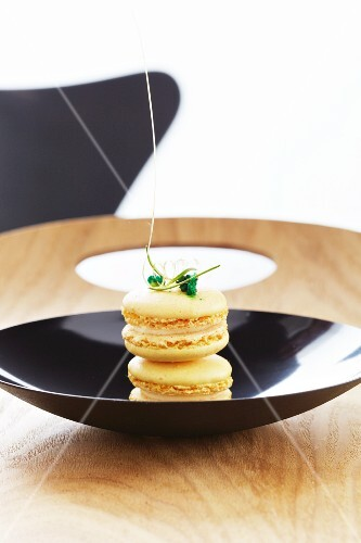 Macaroons decorated with lime zest