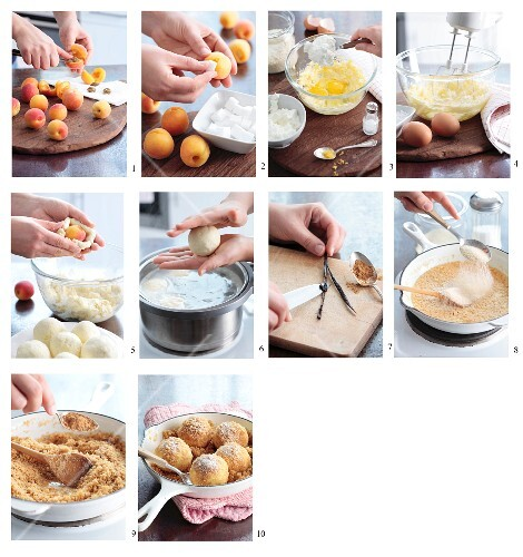 Making apricot dumplings