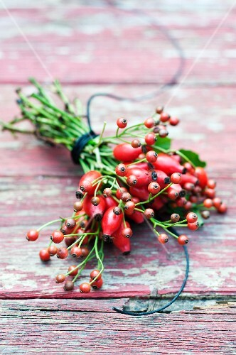 A bouquet of hawthorn berries on weathered wood