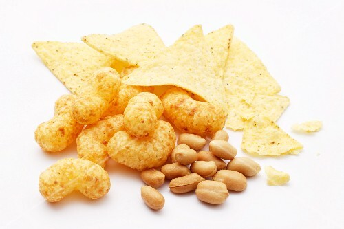 Tortilla chips, peanut flips and peanuts