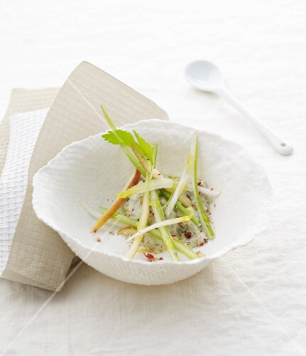 Julienne of autumn vegetables with pink peppercorns
