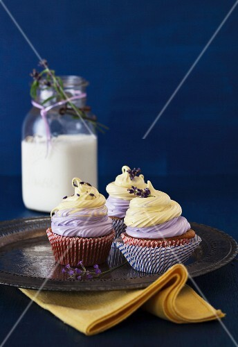 Three Lavender Cupcakes with Vanilla Lemon Marshmallow Topping
