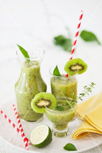 Kiwi Lime Smoothie in Three Assorted Glasses