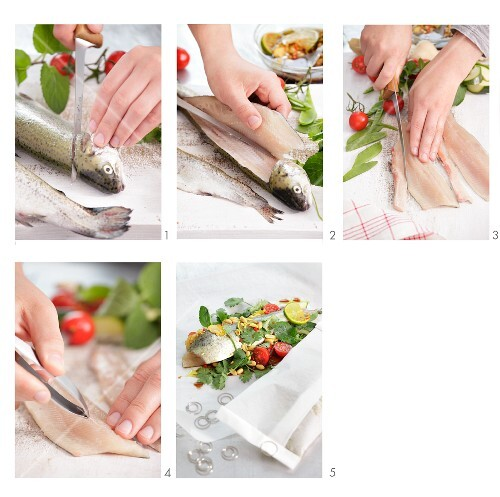 Preparing trout in baking parchment