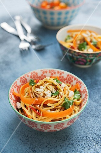 Noodle & carrot salad with peanuts, coriander and a honey & soy dressing