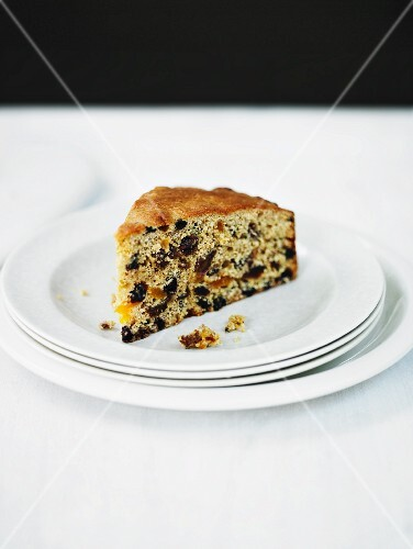 A slice of fruitcake with ras-el-hanout (spice mixture, Morocco)