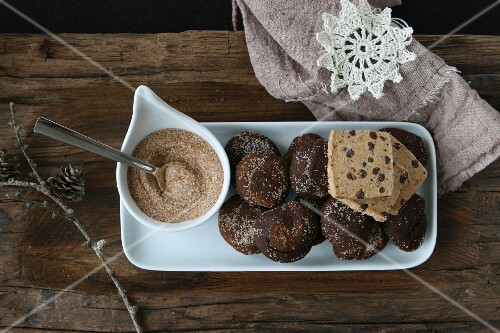 Chocolate and cinnamon treats with brown sugar, and a crocheted star