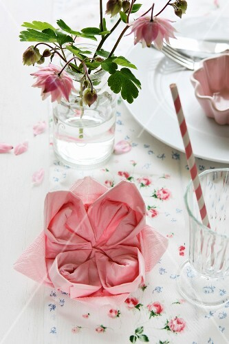 Craft idea; napkin folded into lotus flower