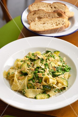 Pappardelle with courgette and peas