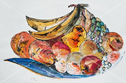 A colourful painting of a bowl of fruit with pears, bananas, mandarins, grapes and oranges