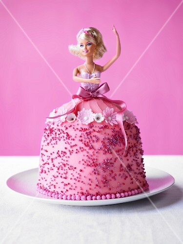 A pink Barbie cake for a child's party