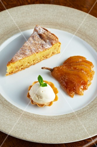 Hazelnut tart with a caramelised pear and vanilla ice cream