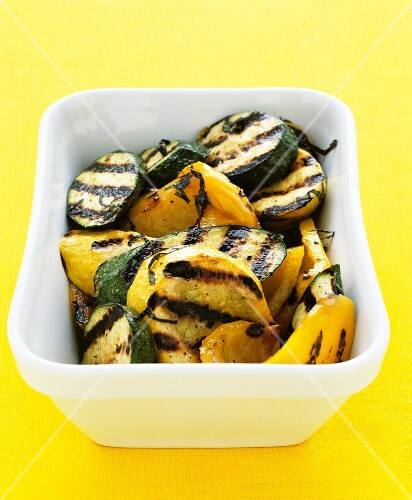 Chargrilled courgette and yellow peppers