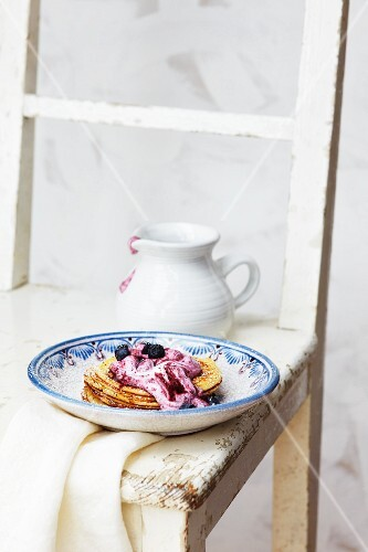 Pancake with blueberry quark