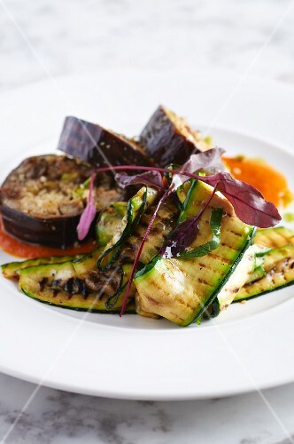 Baked aubergine and courgette