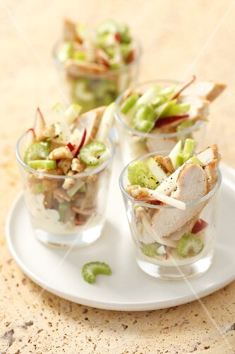 Waldorf salad with chicken and walnuts
