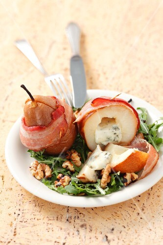 Pears wrapped in bacon and stuffed with Gorgonzola