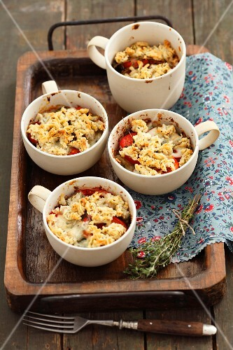 Vegetable bake with courgettes, aubergines, tomatoes, Roquefort and breadcrumbs