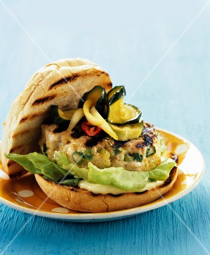 Barbecued turkey burger in a bun