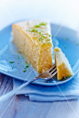 A slice of lemon cake