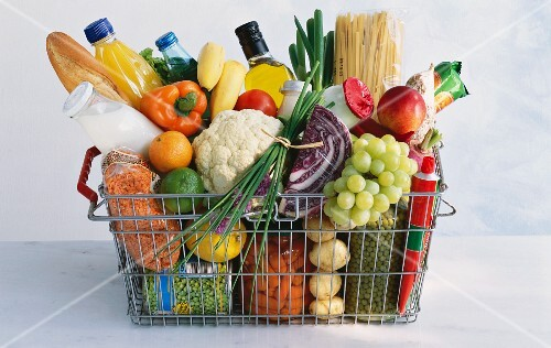 A shopping basket full of vegetables, fruit and groceries