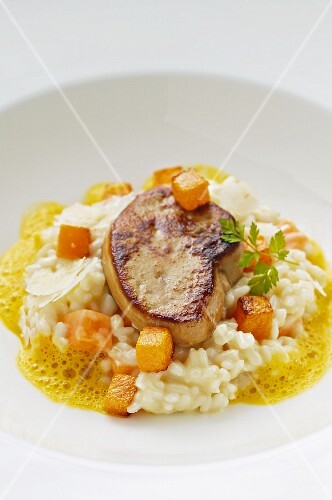 Squash risotto with duck liver
