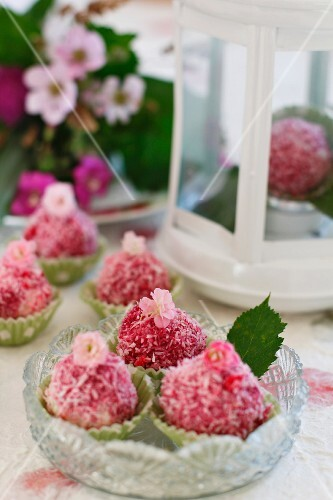 Rose and coconut truffles