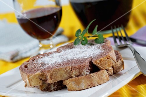 Bread with red wine and sugar