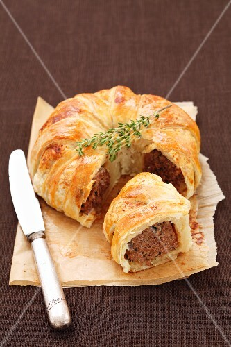Meatloaf wrapped in puff pastry