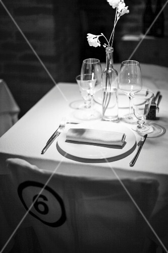 An elegantly laid table in a restaurant
