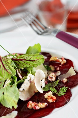 Beetroot and mushrooms carpaccio with Parmesan cheese