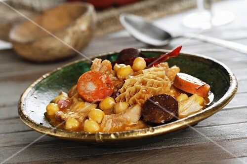 Tripe with chickpeas and chorizo (Spain)